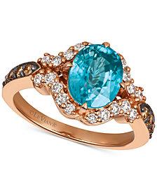 Le Vian® Blueberry Zircon™ (9/10 ct. t.w.), Nude Diamonds™ (3/8 ct. t.w.), and Chocolate Diamonds® (1/5 ct. t.w.) Ring in 14k Strawberry Gold®