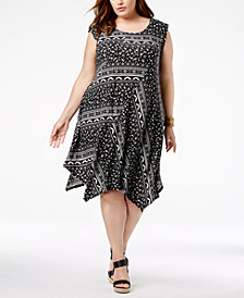 John Paul Richard Plus Size Printed Handkerchief-Hem Dress