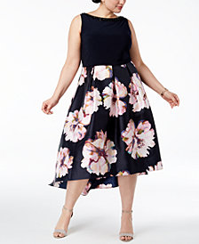 SL Fashions Plus Size Sleeveless Floral-Print Dress