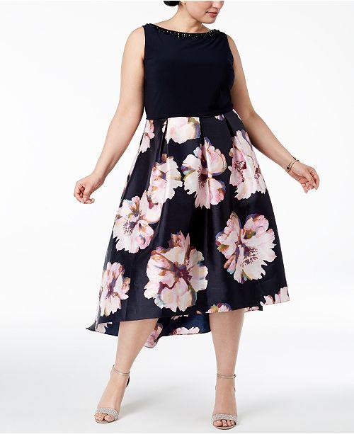 6438b640a59 SL Fashions Plus Size Sleeveless Floral-Print Dress - Dresses ...