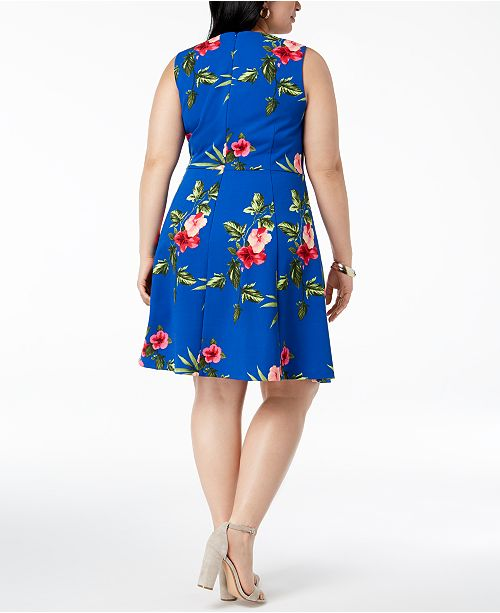Jessica Howard Plus Size Hawaiian-Print A-Line Dress ...