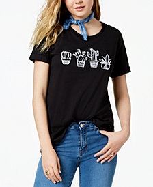 Carbon Copy Cotton Embroidered Graphic T-Shirt