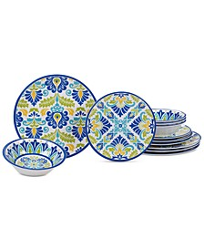 Martinique Melamine Dinnerware, 12-Pc. Set