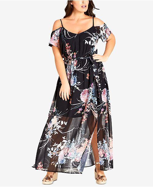 fabb0420cbf City Chic Trendy Plus Size Cold-Shoulder Maxi Dress   Reviews ...