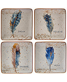 Certified International Indigold Feathers Dessert Plates, Set of 4