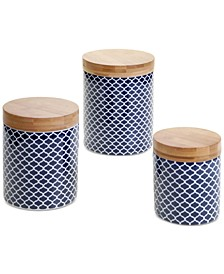 6-Pc. Chelsea Indigo Quatrefoil Canisters Mix & Match Set