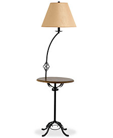 Cal Lighting 150W 3-Way Iron Floor Lamp with Wood Tray Table Lamp