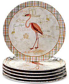 Certified International Floridian Set of 6 Dinner Plates