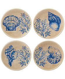 Certified International Seaside Canapé Plates, Set of 4