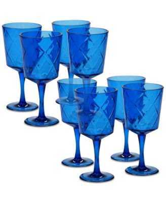 Cobalt Blue Diamond Acrylic 8-Pc. All-Purpose Goblet Set