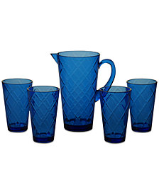 Certified International Cobalt Blue Diamond Acrylic 5-Pc. Drinkware Set