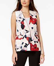 Nine West Printed Crepe One-Button Vest