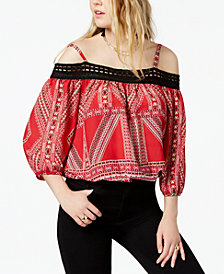 BCX Juniors' Printed Cold-Shoulder Top