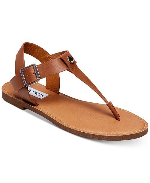 af97227f3a49 Steve Madden Women s Skylar T-Strap Flat Sandals   Reviews - Sandals ...
