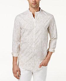 Tasso Elba Men's Banded Collar Printed Shirt, Created for Macy's
