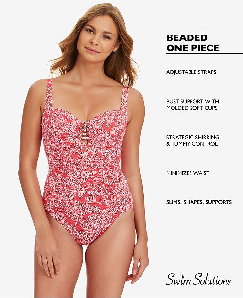 9c6b39d51f Swim Solutions Shirred Tummy-Control One-Piece Swimsuit, Created for Macy's  ...