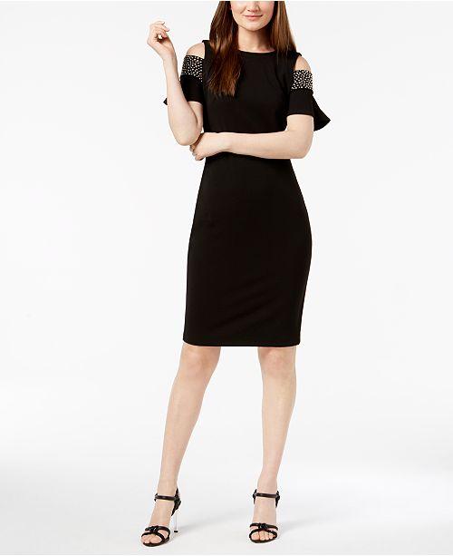 c7e244d7 Calvin Klein Studded Cold-Shoulder Dress & Reviews - Dresses - Women ...