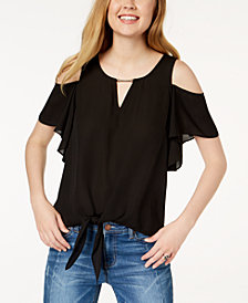 BCX Juniors' Cold-Shoulder Tie-Front Top