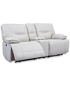 "CLOSEOUT! Mantella 80"" Leather Sofa with 2 Power Recliners and Console with USB Power Outlet"
