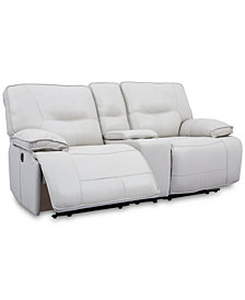 "Mantella 80"" Leather Sofa with 2 Power Recliners and Console with USB Power Outlet"