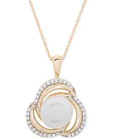 "Cultured Freshwater Pearl (8mm) & Diamond (1/6 ct. t.w.) Knot 18"" Pendant Necklace in 14k Gold"