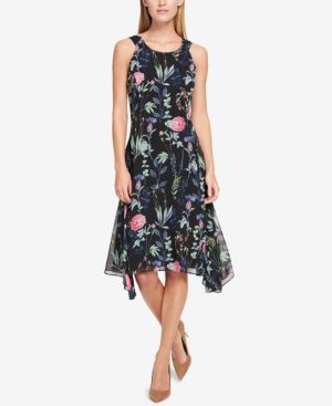 FLORAL-PRINTED ASYMMETRICAL DRESS