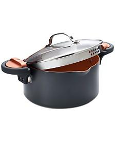 Gotham Steel 5-Qt. Non-Stick Ti-Ceramic Pasta pot with Built-in Strainer and Twist N' Lock Handles
