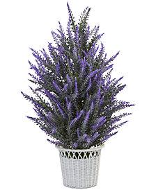 Nearly Natural Artificial Lavender Plant in White Wicker Planter