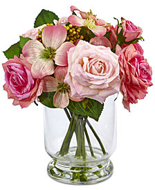 Nearly Natural 10'' Rose & Berry Arrangement in Glass Vase