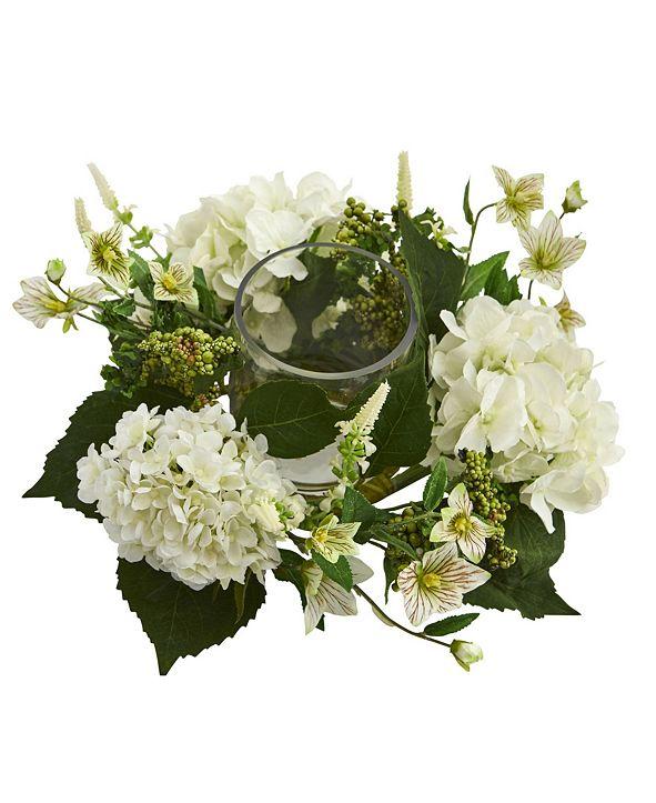 Nearly Natural Hydrangea Artificial Candelabrum Arrangement