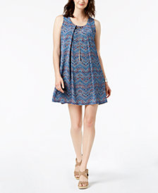 NY Collection Petite Printed Pleated-Front Necklace Dress