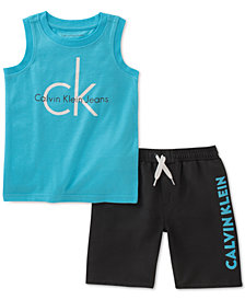 Calvin Klein Little Boys 2-Pc. Graphic-Print Tank Top & Shorts Set