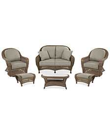 Sandy Cove Outdoor Wicker 6-Pc. Seating Set (1 Loveseat, 2 Swivel Gliders, 2 Ottomans and 1 Coffee Table) Custom Sunbrella®, Created for Macy's