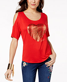 Thalia Sodi Heart Cold-Shoulder Top, Created for Macy's