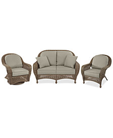Sandy Cove Outdoor Wicker 3-Pc. Seating Set (1 Loveseat, 1 Club Chair and 1 Swivel Glider) Custom Sunbrella®, Created for Macy's