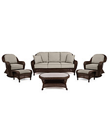 Monterey Outdoor Wicker 6-Pc. Seating Set (1 Sofa, 2 Swivel Chairs, 2 Ottomans & 1 Coffee Table) with Custom Sunbrella®,  Created for Macy's