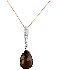 "Smoky Quartz (5-1/2 ct. t.w.) & Diamond (1/6 ct. t.w.) 16"" Pendant Necklace in 14k Rose & White Gold"