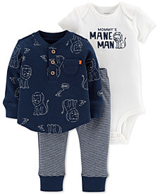 Carter's Baby Boys 3-Pc. Printed Cotton Top, Bodysuit & Jogger Pants Set