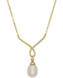 """Cultured Freshwater Pearl (9mm x 7mm) & Diamond Accent 17"""" Pendant Necklace in 10k Gold"""