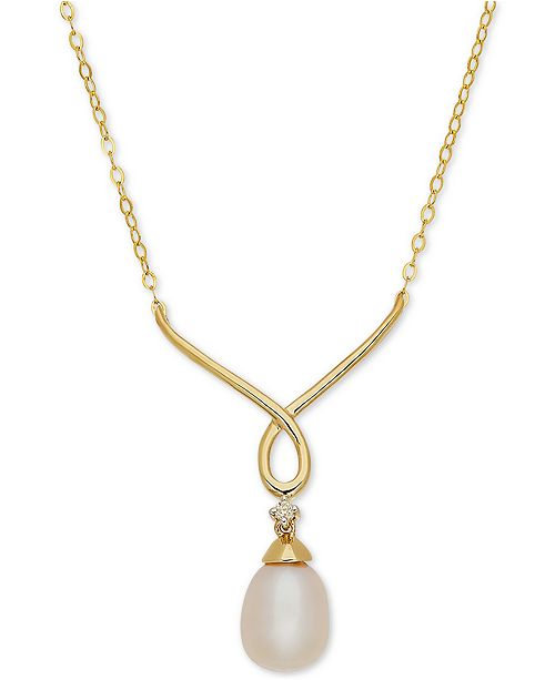 "Arabella Cultured Freshwater Pearl (9mm x 7mm) & Diamond Accent 17"" Pendant Necklace in 10k Gold"