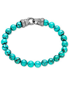 Esquire Men's Jewelry Manufactured Turquoise Beaded Bracelet in Sterling Silver, Created for Macy's
