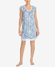 Ellen Tracy Printed Chiffon-Hem Short Nightgown