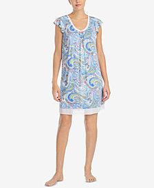 Ellen Tracy Printed Chiffon-Hem Short Nightgown