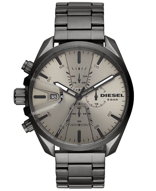 Diesel Men's Chronograph MS9 Chrono Gunmetal Stainless Steel Bracelet Watch 47mm