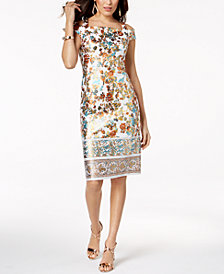 Thalia Sodi Metallic-Print Sheath Dress, Created for Macy's