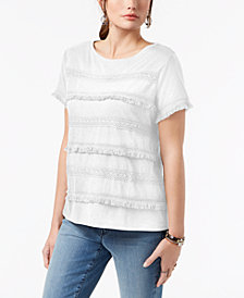 Style & Co Petite Fringed Top, Created for Macy's