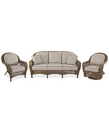 Sandy Cove Outdoor Wicker 3-Pc. Seating Set (1 Sofa, 1 Club Chair and 1 Swivel Glider) Custom Sunbrella®, Created for Macy's