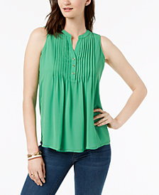 Charter Club Petite Pleated Button-Neck Top, Created for Macy's