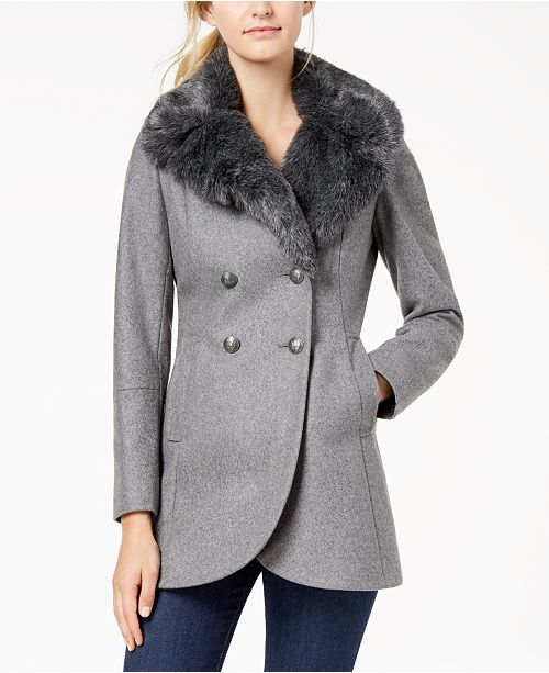 3c4faa875bafb French Connection Double-Breasted Faux-Fur-Collar Peacoat   Reviews ...