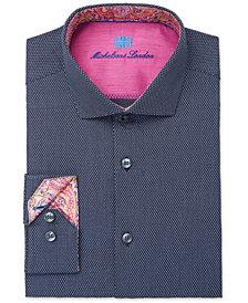 Michelsons of London Men's Slim-Fit Performance Navy Blue Fancy Dress Shirt